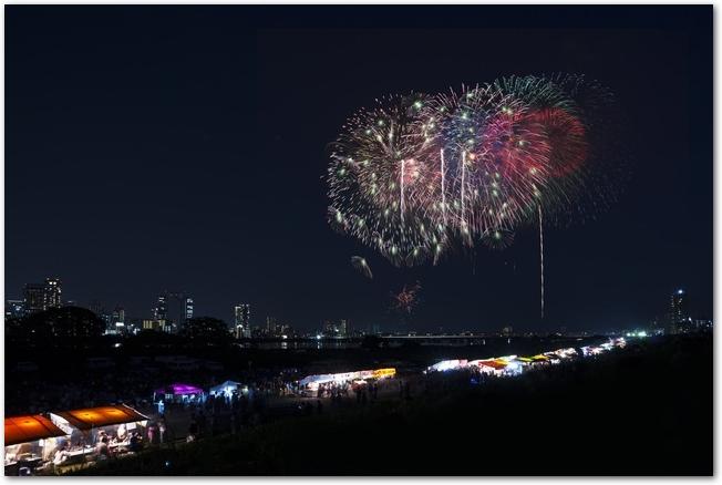 淀川花火大会を少し離れたところから見た風景