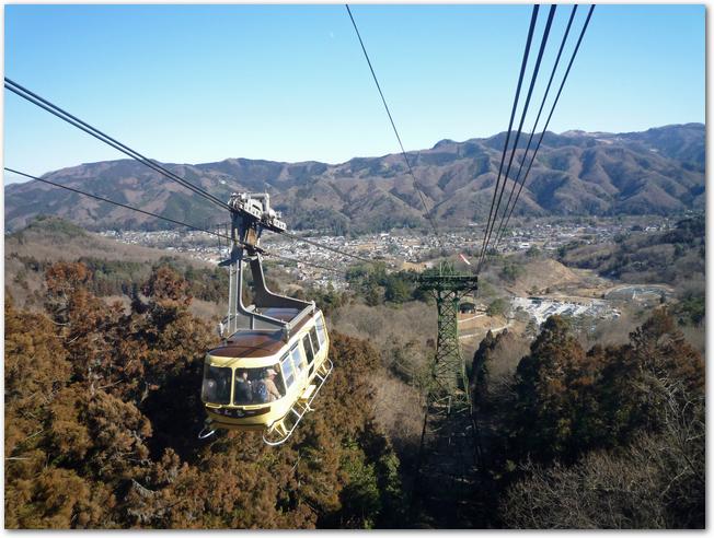 宝登山のロープウェイから見た景色