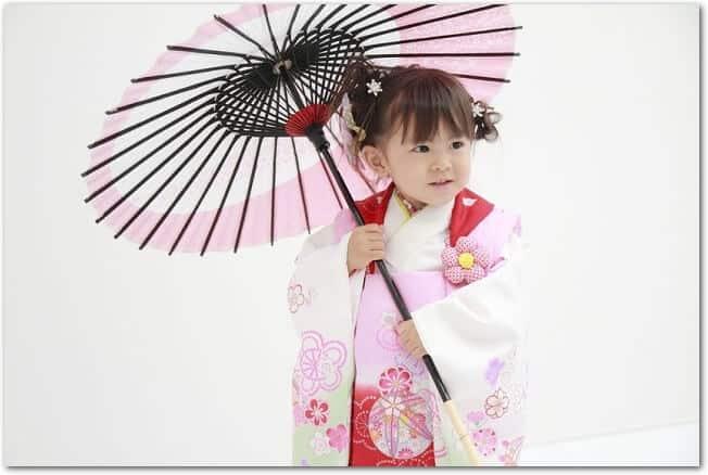 七五三の着物を着て和傘を持っている女の子の様子